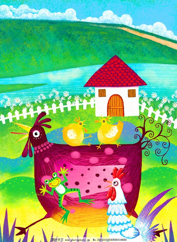 儿童画 春天到图片_卡通设计