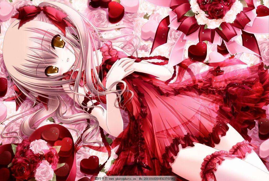 深红裙子的公主 动漫 人物 红 公主 服装 可爱 美少女 哥德萝莉 花瓣