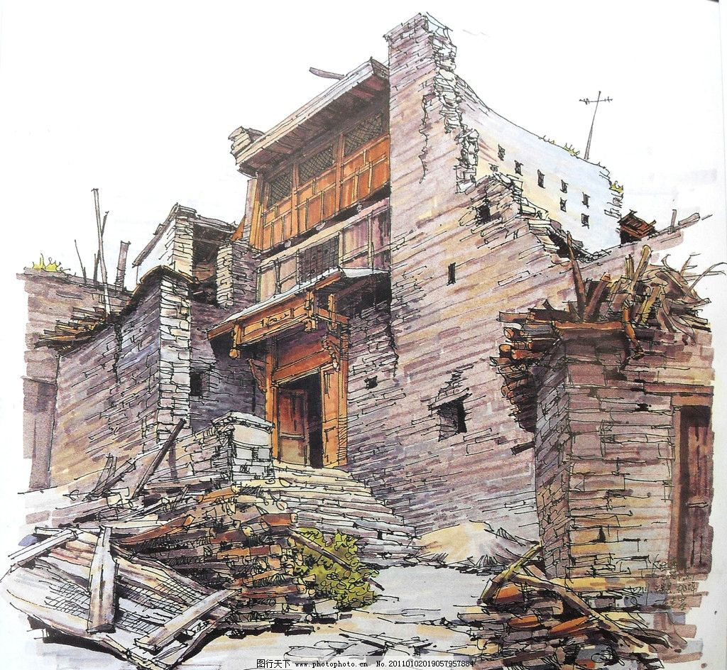 钢笔 马克笔 钢笔风景画 线条 风景画 手绘 建筑手绘 手绘风景 室外