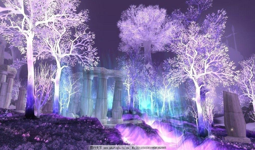 夜景 树林 树木 紫色 紫色的树 仙境 夜 发光 风景漫画 动漫动画 设计