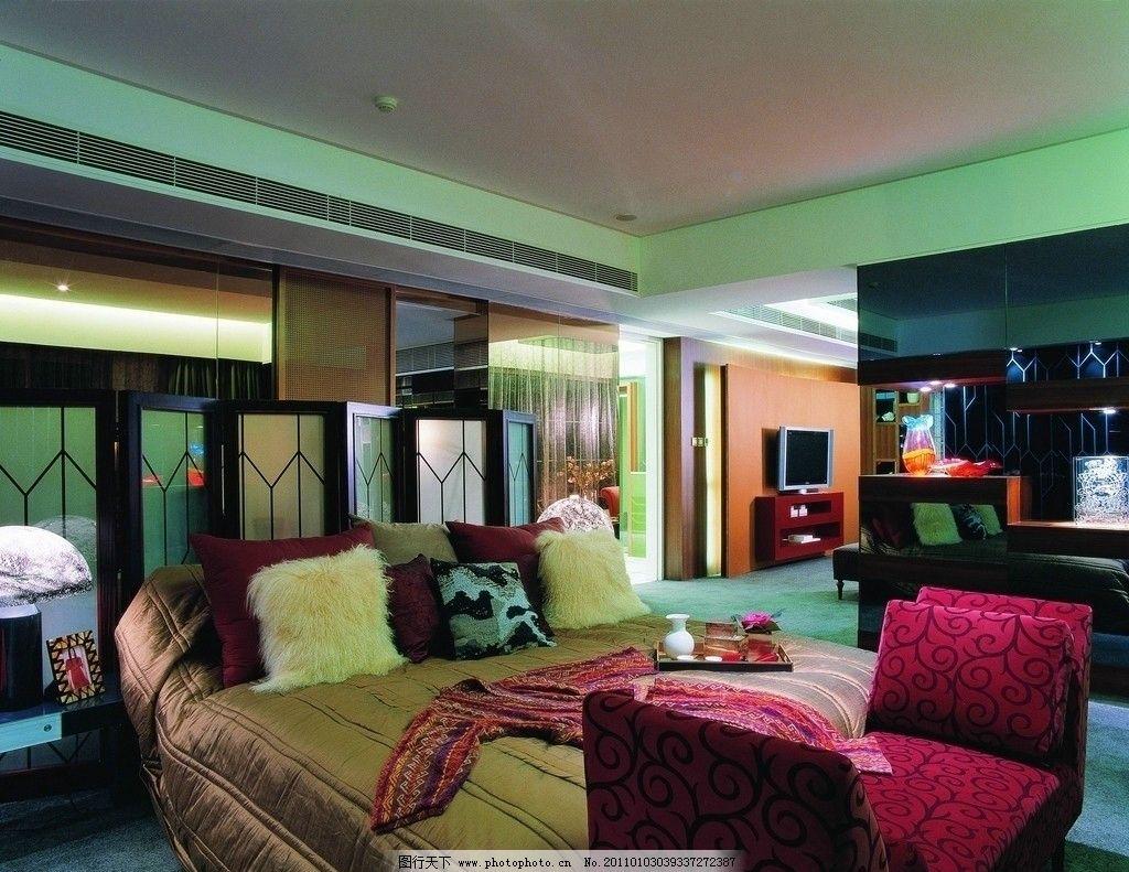 室内设计 空间设计 沙发 床 电视 床铺 台灯 室内摄影 建筑园林 摄影