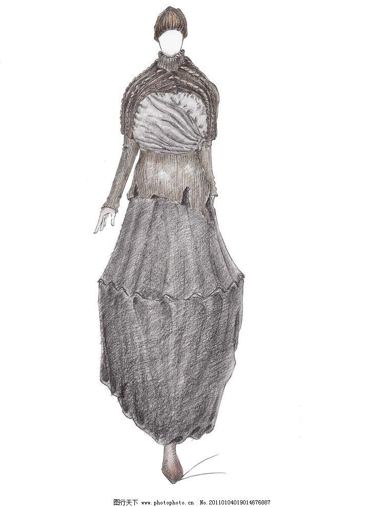设计稿 服装设计稿 服装画 手绘时装画 上衣 裙子 手绘服装效果