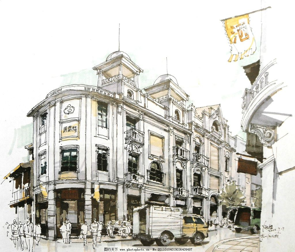 线条 风景画 手绘 建筑手绘 手绘风景 室外手绘 古典建筑 街道 杭州