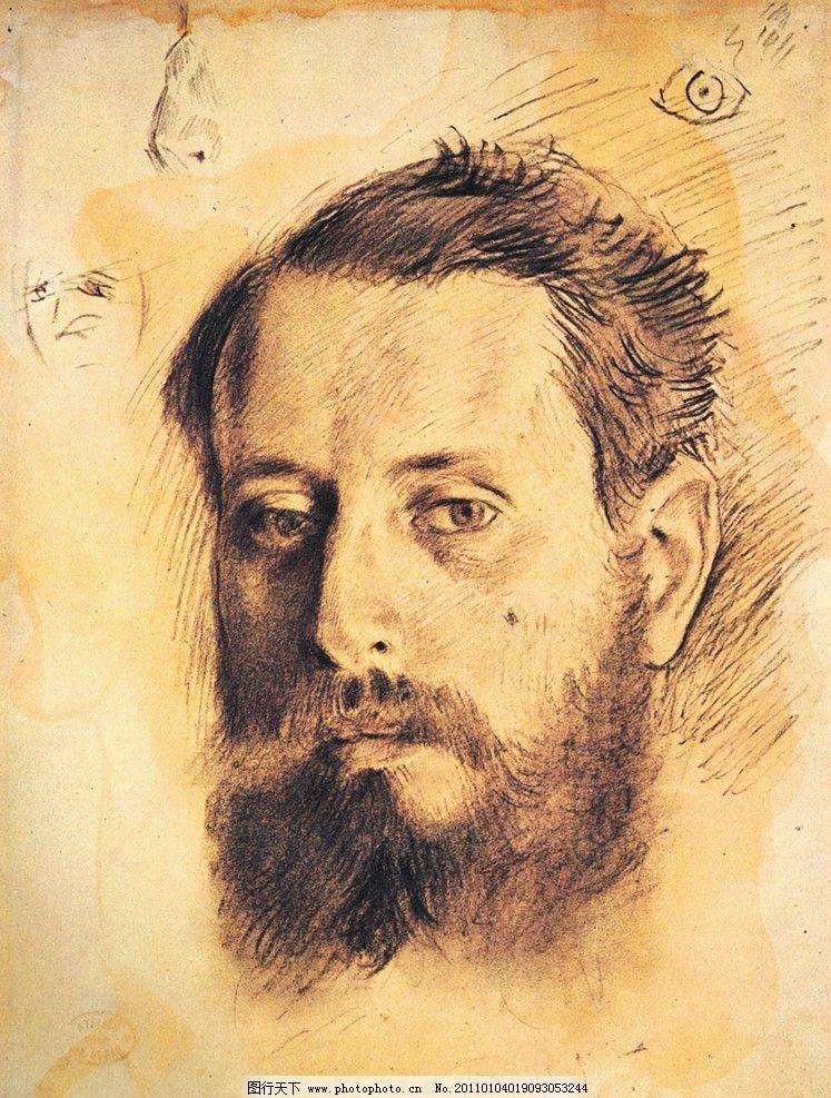 头像素描 素描      肖像 人物 老外 线描 线稿 线条 人头像 大师作品