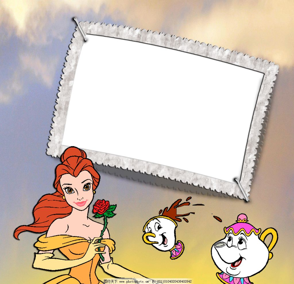 儿童展板 画板 卡通美女 相框模板 边框相框 底纹边框 设计 100dpi