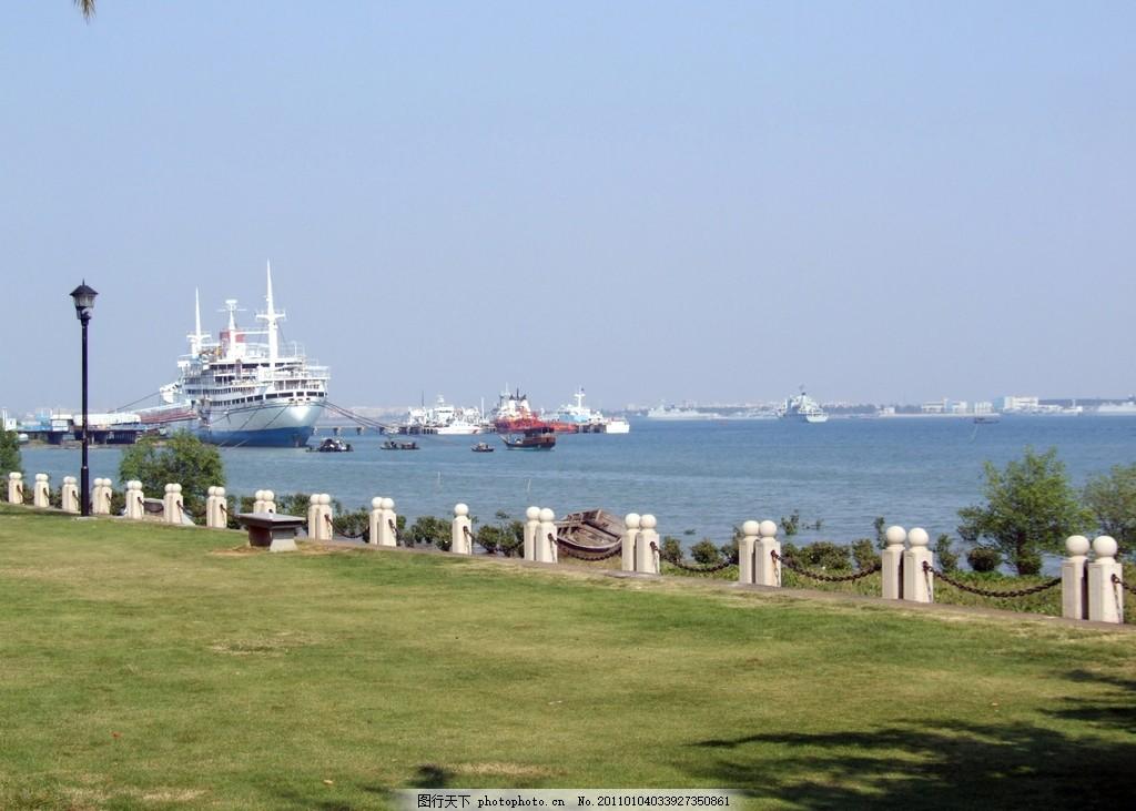 湛江海景 观海长廊 海边 海滨公园 渔港公园 蓝天大海 船只 湛江霞山图片