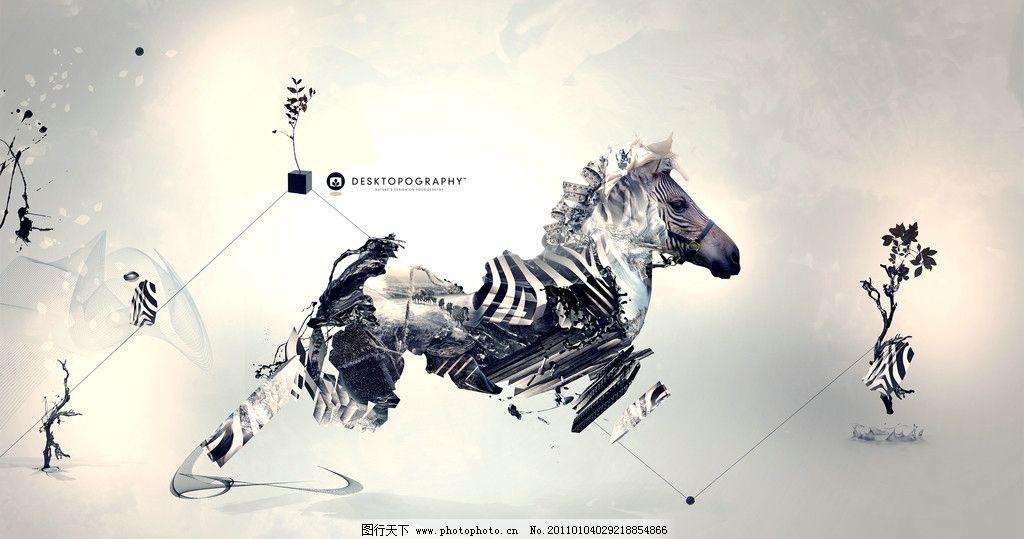 斑马 破碎 动物 公益海报