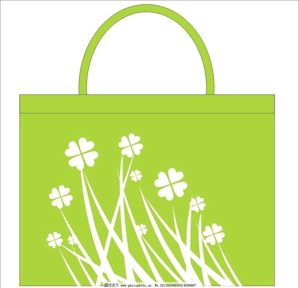 环保袋 无纺布袋 卡通花 矢量图 其他设计
