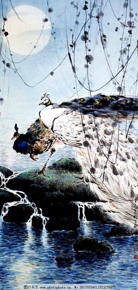 月下孔雀图 白孔雀 彩墨画 工笔画 国画艺术 绘画 绘画书法 美术
