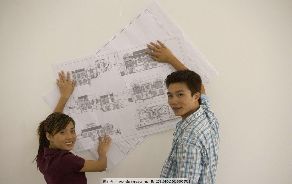 摄影图库 人物图库 日常生活  装修房子 施工 施工图 装修 情侣 伴侣