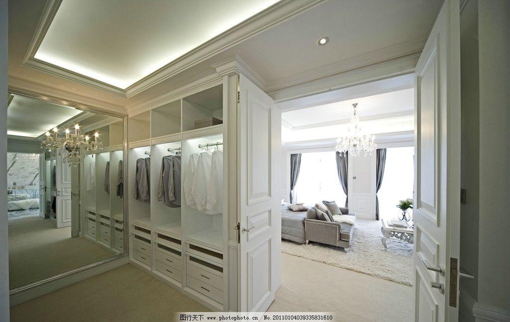 别墅 欧式 白色调 卧室 台灯 布艺 沙发 更衣室 衣柜 水晶吊灯