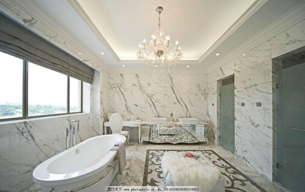 卫生间 别墅 欧式 白色调 拼花地面 白色石材 洗手盆 化妆台
