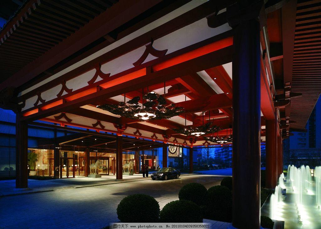 喷泉 景观设计 酒店夜景拍摄 建筑夜景拍摄 中式结构 中式设计 水池