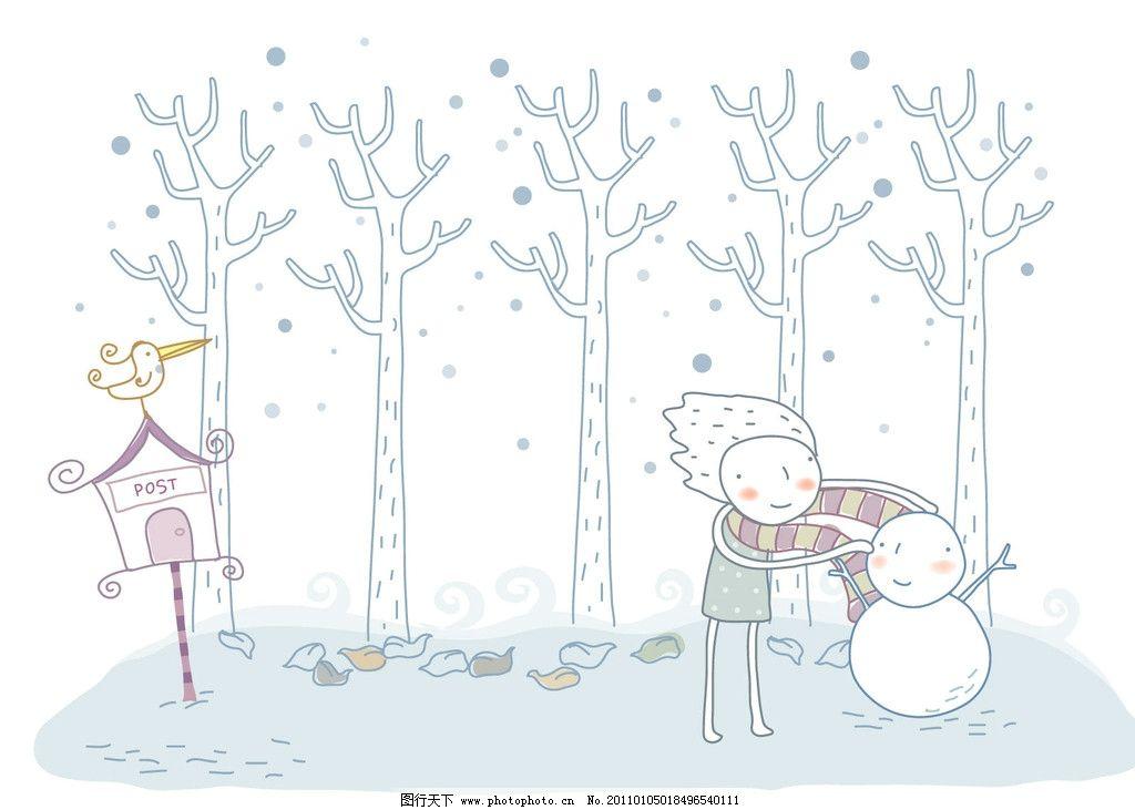插画 背景 卡通 手绘 冬天 雪人 风景漫画 动漫动画 设计 72dpi jpg