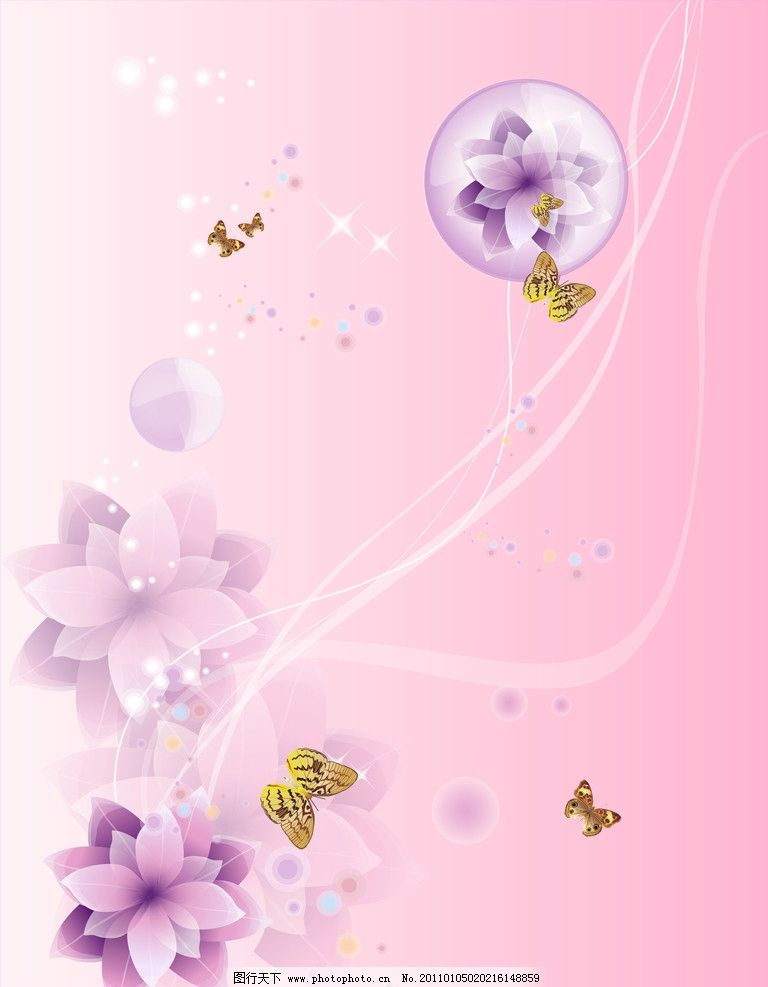 花语 茉莉花 蝴蝶 线条 圆 粉红色 背景底纹 底纹边框 设计 72dpi jpg