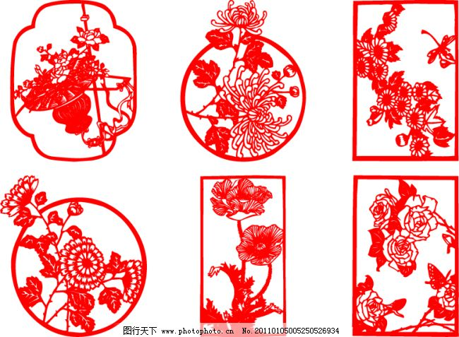 cdr 花边 花朵 牡丹 矢量图 古典剪纸图案 花朵 牡丹 矢量图 花边 cdr