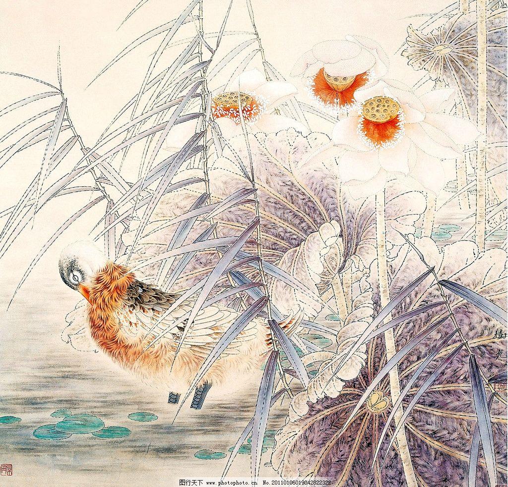 荷塘鸭子 美术 绘画 中国画 彩墨画 荷花 荷叶 鸭子 水草 书法 印章