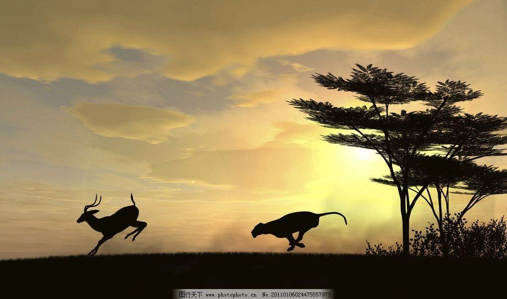 捕猎 剪影 豹子 羚羊 野生动物 生物世界 设计 300dpi jpg
