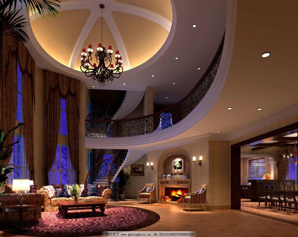 别墅 大厅效果图图片