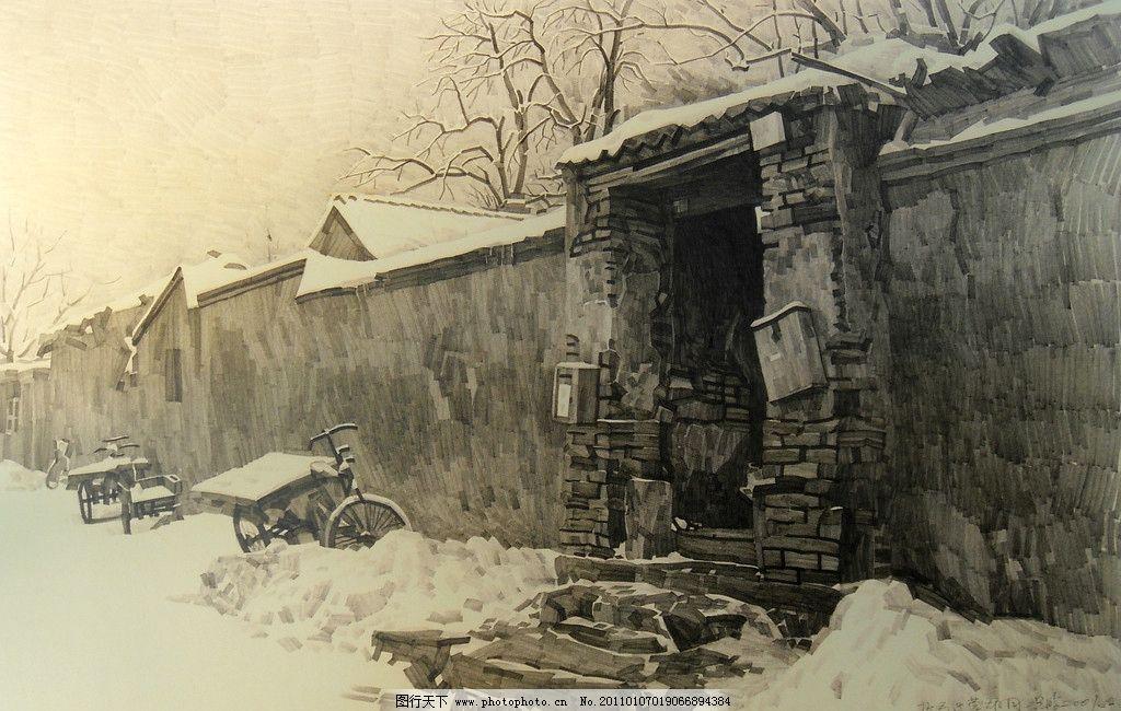 老门 古朴 民间古迹 街道 况含 雪景 雪地 冬天 《留住胡同》 绘画图片