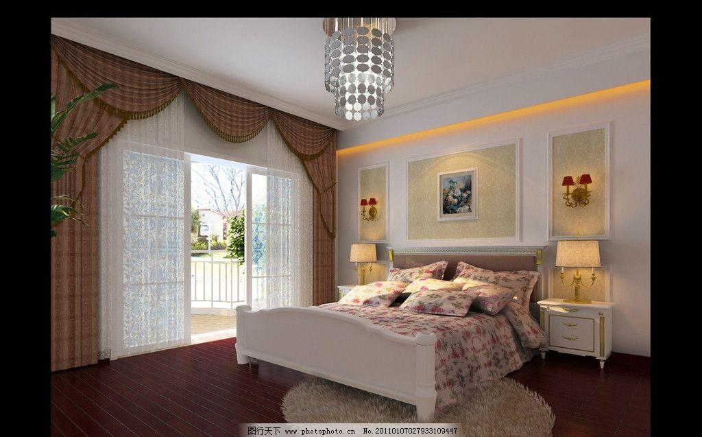 卧室 效果图 床窗 床单 枕头 灯带 木地板 地毯 窗帘 挂画