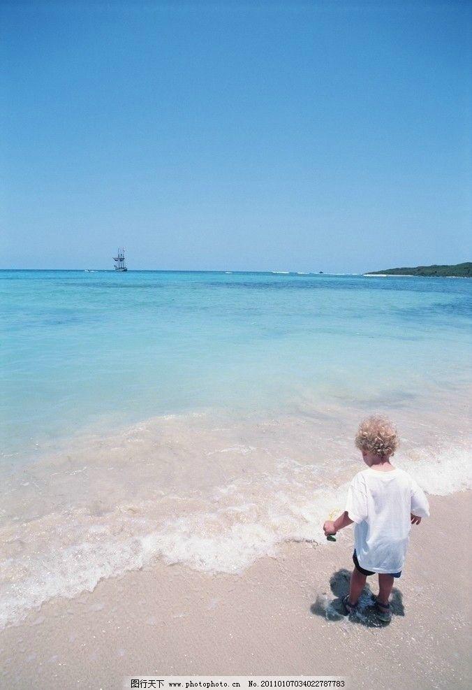 旅游风景 海 天空 蓝色的海 蓝色的天空 小孩 沙滩 国外旅游