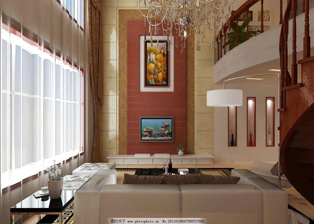 別墅客廳效果圖 電視背景墻 壁紙 大理石 沙發 窗簾 電視機 電視柜 花