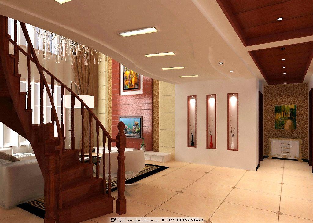 客厅 走廊效果图 旋转楼梯 造型墙 电视背景墙 红木 端景墙 壁纸