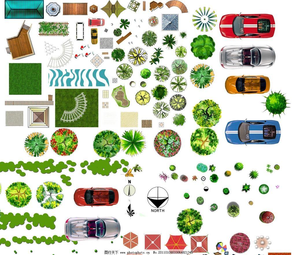 树丛 灌木 手绘 总平面 水 花坛 彩图 雨棚 高清 300dip psd分层素材