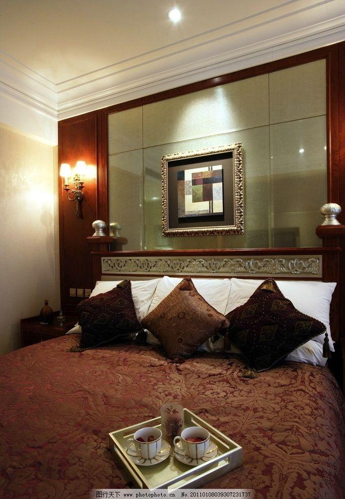 豪华酒店 欧式卧室 室 家具 床 装修 古典 欧式家具 台灯 地毯 窗帘