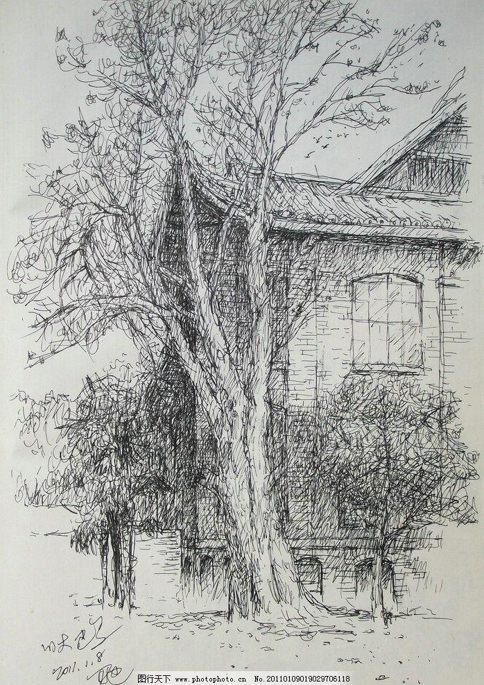 中式塔楼钢笔画