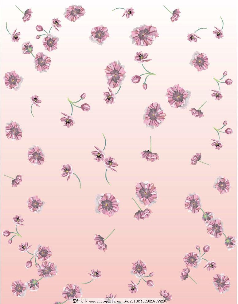 花纹背景 可爱花朵 粉红色背景 花纹 底纹背景 底纹边框 矢量 eps