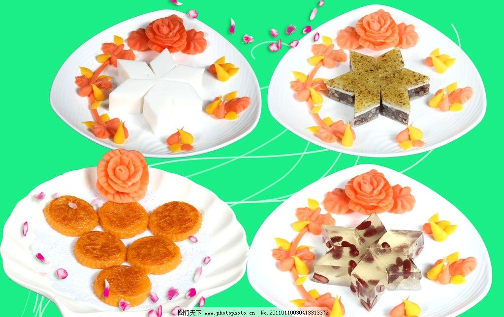 点心 糕点 腰豆糕 椰汁糕 桂花糕 南瓜饼 花瓣 菜单菜谱 广告设计模板