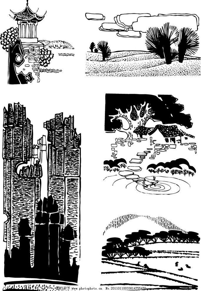 景区黑白装饰画 景区 黑白 装饰画 扫描自转矢量图素材 矢量素材 其他