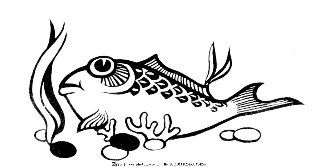 鲤鱼 抽象画 水波 黑白 线条画图片