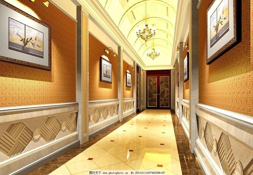 酒店走廊 欧式 酒店效果图