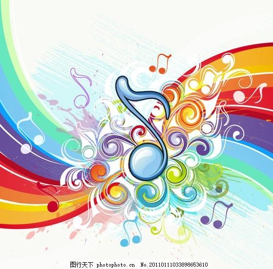 潮流音符主题矢量素材 符号 花纹 音乐 动感线条 墨迹 墨痕 墨点