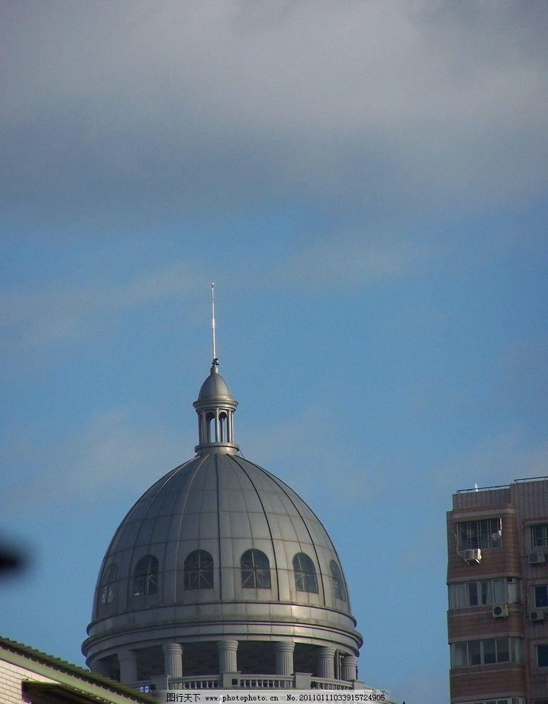 穹顶 厦门电业局穹顶 圆形 欧式建筑 罗马柱 屋檐 楼房 蓝天