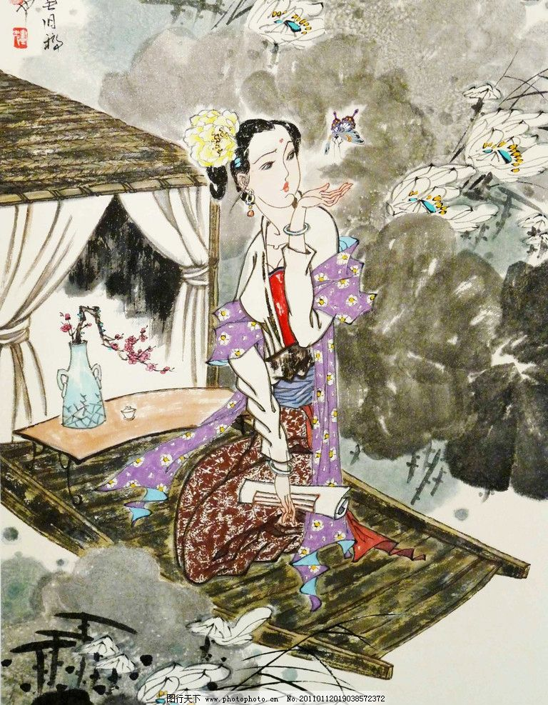 中国画 彩墨画 人物画 古代人物 女人 女子 仕女 动作 表情 姿势 荷塘