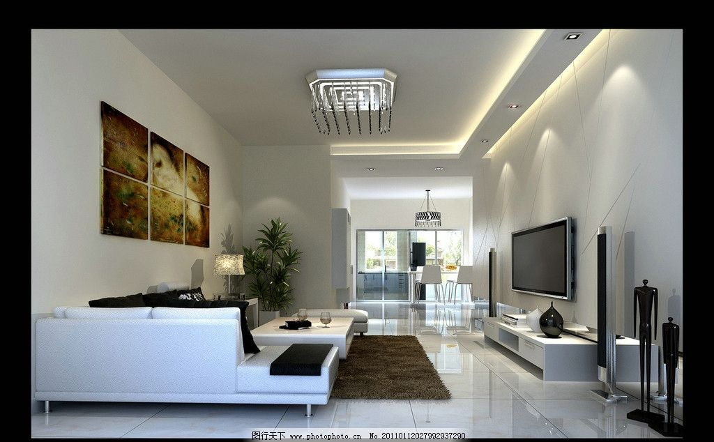 餐桌 餐椅 电视机 地毯 沙发 挂画 电视柜 灯 灯带 玻化砖 室内设计