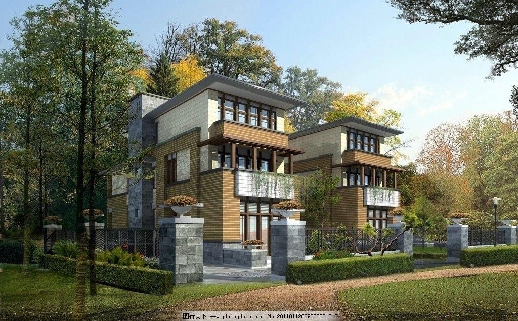 别墅效果图 别墅 蓝天 草地 树木 近景树 路灯 围墙 花草 其他设计