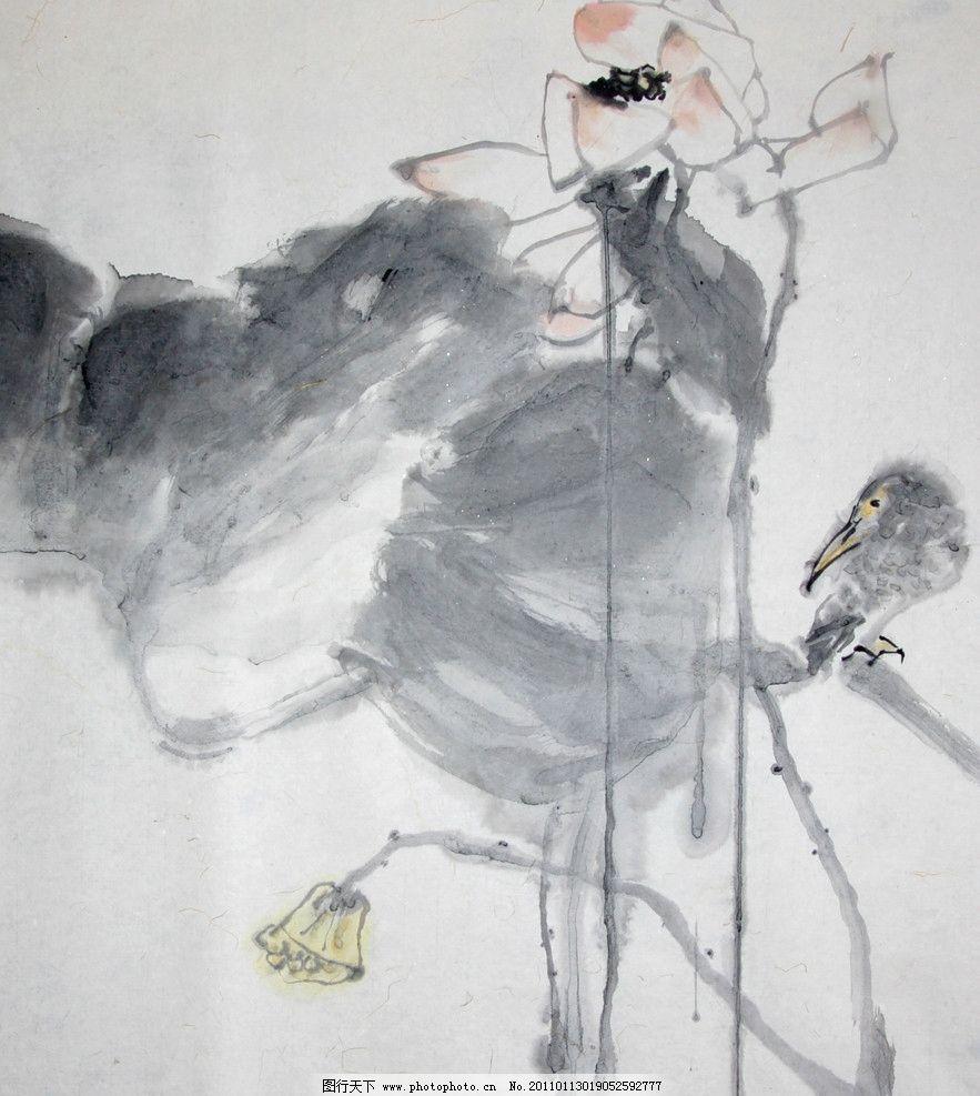 水墨画 荷花 荷叶 莲蓬 书画 绘画书法 文化艺术 设计 156dpi jpg