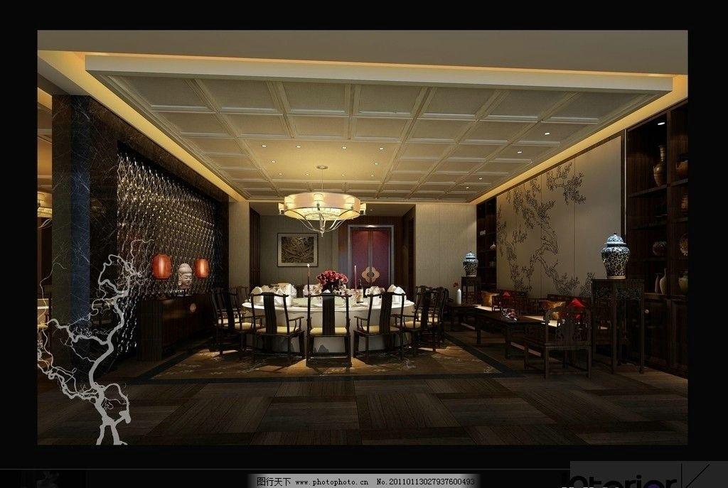 餐厅包间 工艺吊灯 造型吊顶 筒灯 暗灯槽 中式花隔断 中式墙面造型