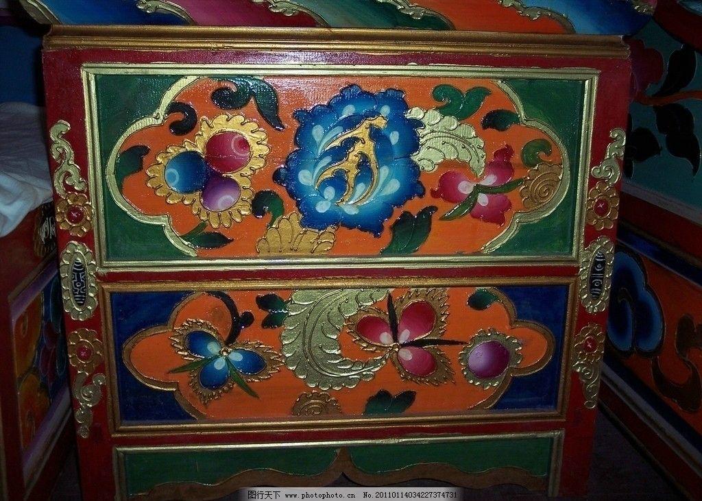 藏区 甘孜 藏民 生活 花纹 藏饰 柜子 甘孜州 人文景观 旅游摄影 摄影