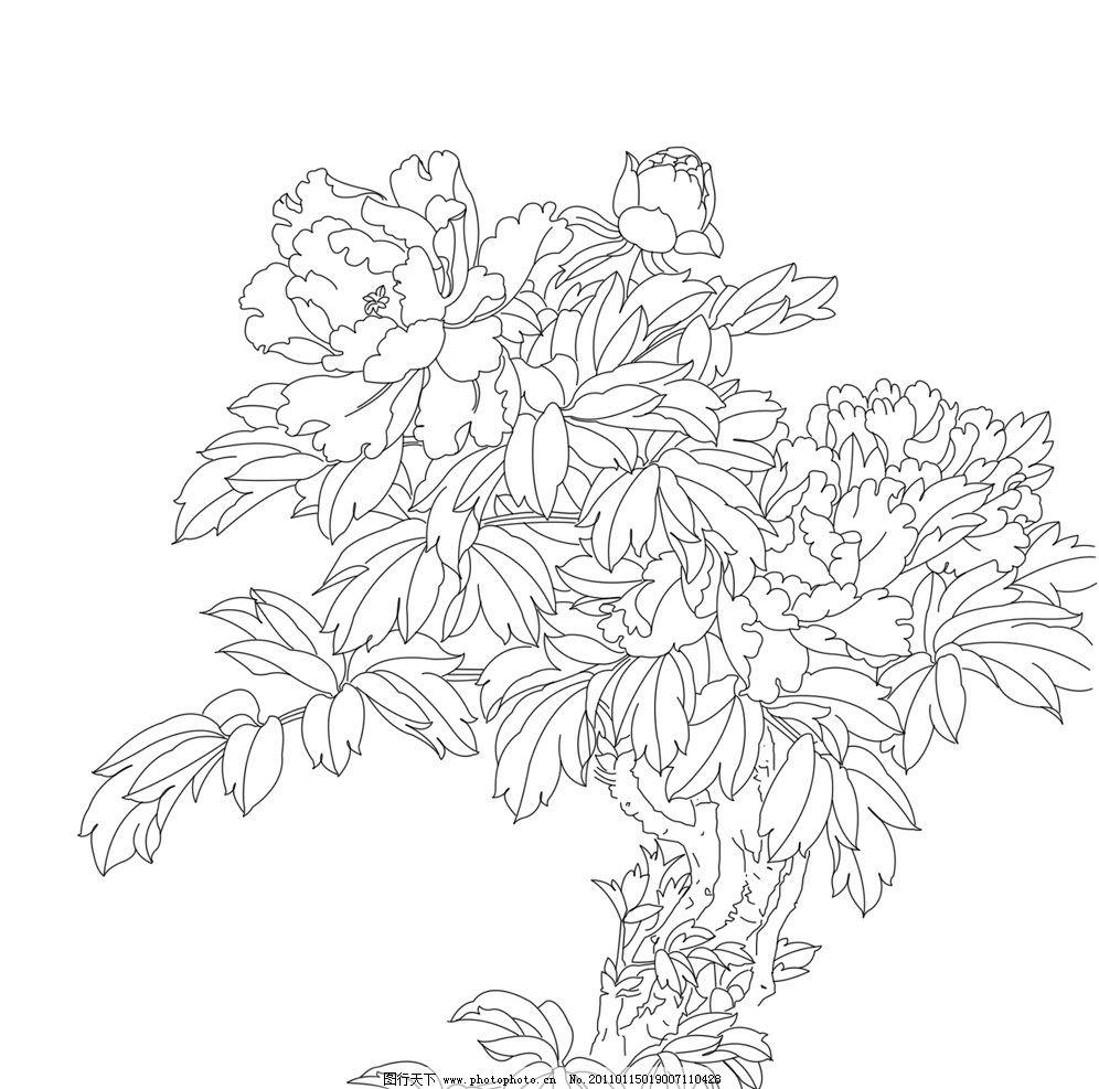 白描牡丹 白描 牡丹 书画 艺术 花卉 线描 绘画书法 文化艺术 设计 72