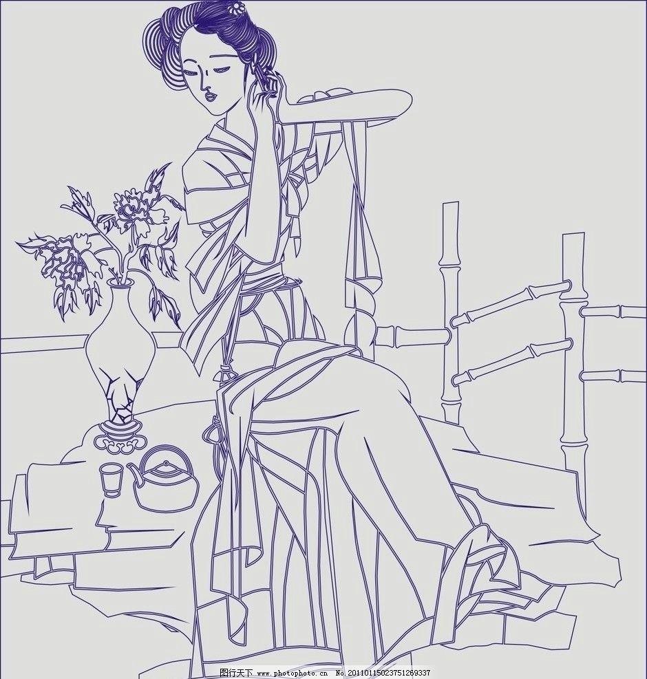 矢量图库 四大美女 古代美女 宫廷 美人 玻璃 隔断 喷砂 雕刻 线条
