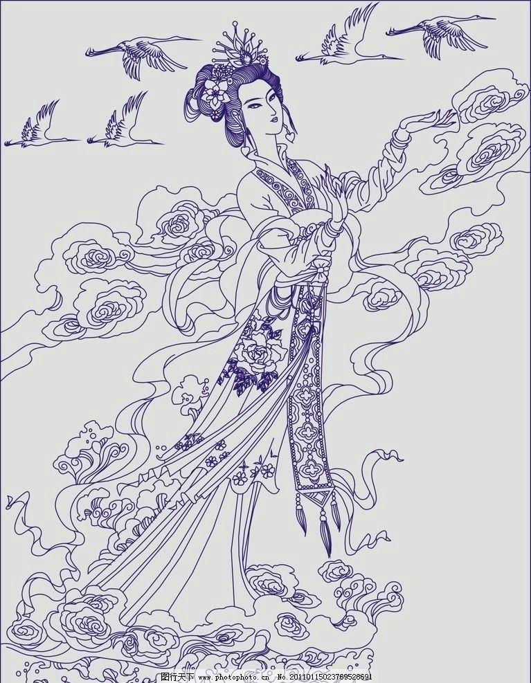 貂蝉 古代美女 宫廷 美人 玻璃 隔断 喷砂 雕刻 线条 彩绘 屏风 仙女