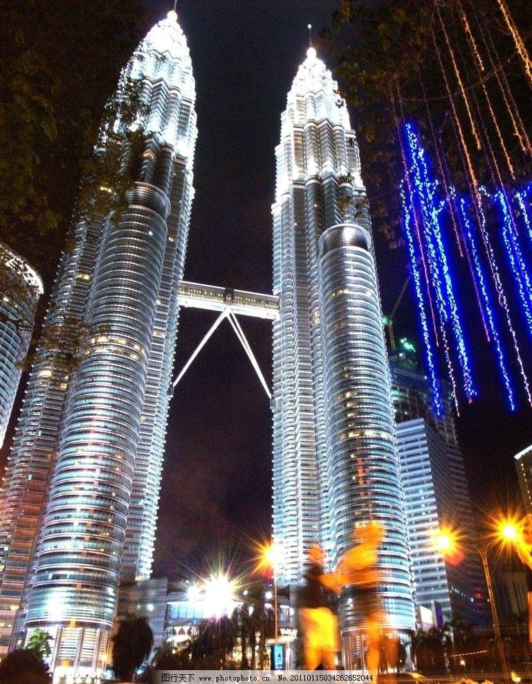 双子塔夜景图片