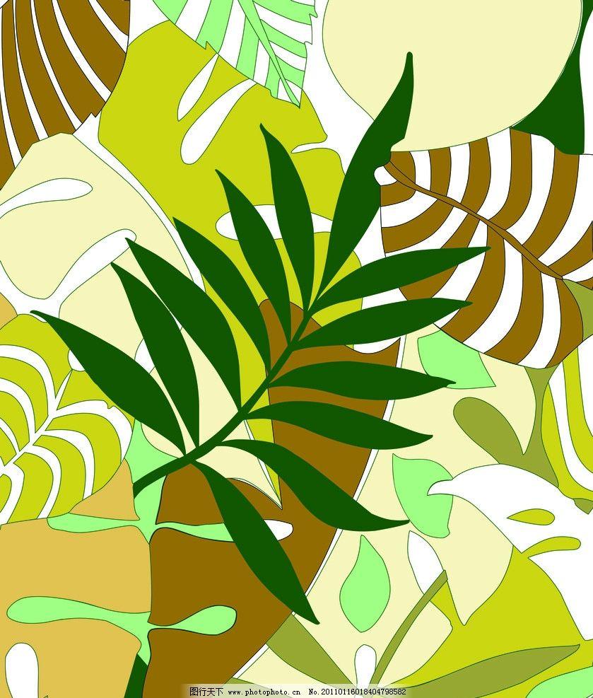 热带雨林 树叶 黄色 绿色 风景漫画 动漫动画 设计 72dpi jpg