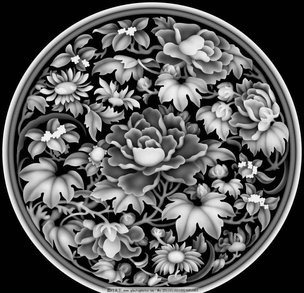 精品牡丹 灰度 屏风 浮雕图 精雕 雕花 雕刻 实木雕花 传统